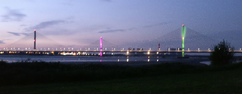 The Mersey Gateway bridge when it was lit up for the same cause last year. Picture courtesy of Alex McConnell