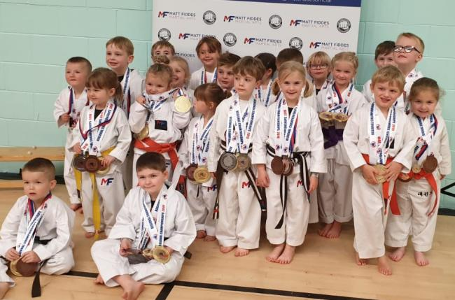 Some of the three to six-year-olds who competed in the Matt Fiddes Martial Arts Northern Championships in Penrith