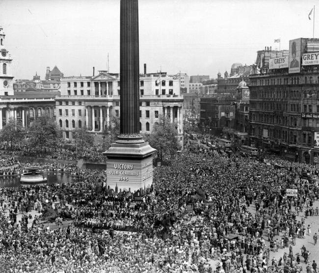 Thousands of people gather in Trafalgar Square to mark VE-Day. The early May Day bank holiday will be moved back four days next year to coincide with the 75th anniversary. Pic credit: PA